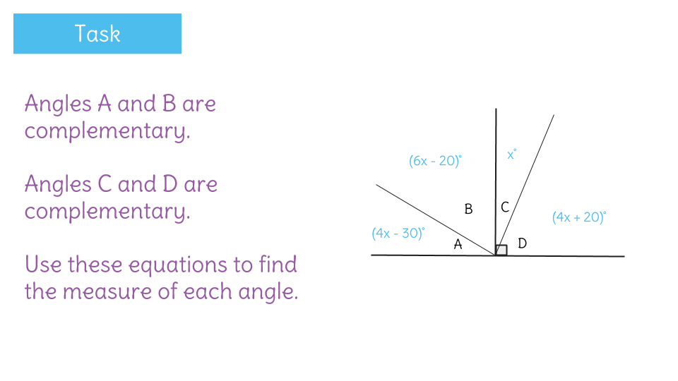 Solve for missing complementary angles by writing equations – Supplementary and Complementary Angles Worksheets